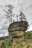 Puffball - Bizarre Rock Formation. In the forests of the Kokorin area, Czech republic Royalty Free Stock Images