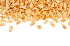 Puffed honey air rice wheat isolated with copy space. royalty free stock photos