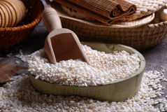 Puffed rice. In wooden bowl on the table stock photography