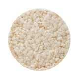 Puffed rice cake. Round puffed rice cake isolated on white royalty free stock image