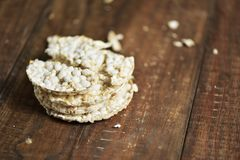 Puffed rice cakes on a table Stock Images