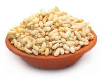 Puffed rice on a clay pot Royalty Free Stock Photo