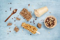 Puffed rice,  cornflakes for breakfast or snack Stock Images