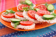 Puffed rice crackers sandwiches Stock Images