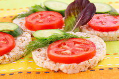 Puffed rice crackers sandwiches Royalty Free Stock Photos