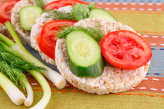 Puffed rice crackers sandwiches Royalty Free Stock Images