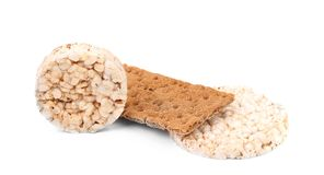 Puffed rice snack and grain crisp bread. Stock Images