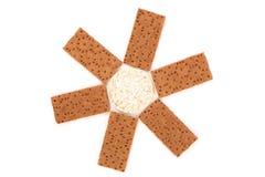 Puffed rice snack and grain crisp bread. Stock Photo