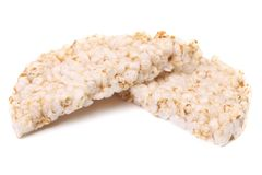 Puffed rice snack .White background. Royalty Free Stock Images