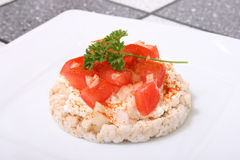Puffed Rice with Tomatoe VIII. A picture of a puffed rice bread Royalty Free Stock Photo