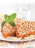 Puffed rice treats. Puffed rice in caramel - close up royalty free stock images
