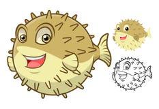 Puffer-Fisch-Zeichentrickfilm-Figur der hohen Qualität umfassen flaches Design und Linie Art Version Stockfotos