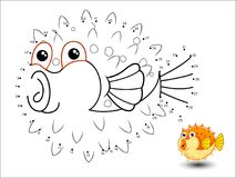 Puffer fish Cartoon Connect the dots and color. Vector vector illustration