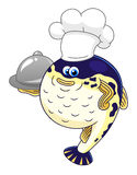 Puffer fish chef. Cartoon cute puffer fish chef with a cloche isolated on white background Royalty Free Stock Photography