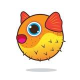 Puffer fish cute cartoon Stock Images