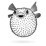 Puffer fish fugu silhouette sharp icon, vector illustration tattoo, cartoon style for T-shirts Stock Photos