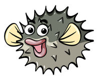 Puffer fish with happy face. Illustration Stock Images
