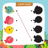 Puffer fish matching game vector design royalty free illustration