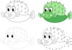Pufferfish dos desenhos animados Ilustração do vetor Ponto para pontilhar o jogo para a criança Imagem de Stock