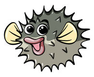 Pufferfish with happy face. Illustration Royalty Free Stock Photo