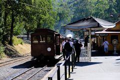 Puffing Billy is above to leave the platform- the steam train in Belgrave, Melbourne, Australia stock photo