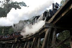 Puffing Billy crossing the Belgrave trestle bridge royalty free stock photo