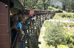 Free Puffing Billy Crossing The Trestle Bridge I Royalty Free Stock Image - 12518756