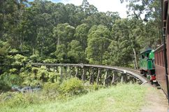 Puffing Billy crossing the Trestle Bridge II Royalty Free Stock Photos