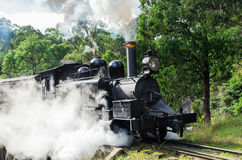 Puffing Billy steam train in the Dandenong Ranges. Historic Puffing Billy tourist railway in the Dandenong Ranges east of Melbourne, Australia, just after royalty free stock photography