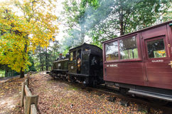 Puffing Billy steam train at Emerald Lake. The Puffing Billy tourist steam train at Emerald Lake in the Dandenong Ranges, east of Melbourne Australia, pulling royalty free stock image