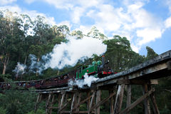 Puffing Billy steam train engine and carriages Royalty Free Stock Images