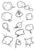 Puffing, exploding, steaming cloud cartoon icons. Cartoon cloud icons in comic book style. Isolated cumulus outline clouds. Vector elements of smoke puff, steam Royalty Free Stock Photos