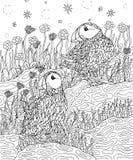 Puffins και λουλούδια που χρωματίζουν τη σελίδα διανυσματική απεικόνιση