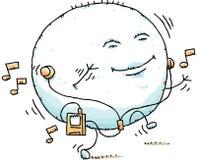 Puffy Blob Dancing. A puffy, cartoon blob dances while listening to a portable music player Stock Photos