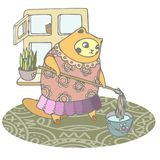 Puffy cat is engaged in spring cleaning the house. vector illustration