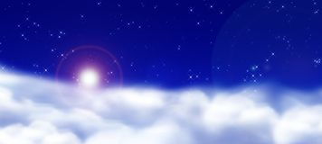 Puffy clods. White Puffy Clouds with stars and sky Royalty Free Stock Photography