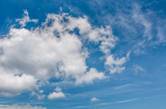 Puffy cloud motion on a blue summer sky. Beautiful weather background with dynamic cloud arrangement Stock Photo