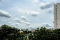 Puffy Clouds. With clear aqua blue sky Stock Photography
