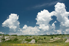 Puffy clouds in countryside