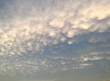 Puffy clouds evening Royalty Free Stock Photo