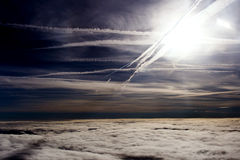 Puffy clouds on height of 5000 m Royalty Free Stock Images