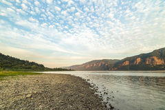 Puffy Clouds Over the Columbia River Stock Photography