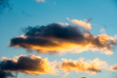 Puffy and colorful sunset clouds Stock Photos