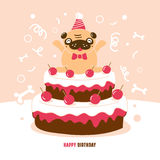 Pug Birthday card vector Illustration Stock Photo