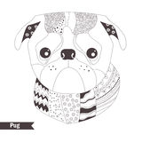 Pug. Coloring book Stock Images