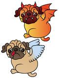 Pug cute puppies Angel and Demon Royalty Free Stock Photography