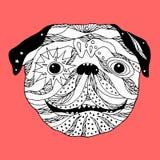 Pug de schedel van de hondsuiker, leuke honddag van de doden, illustratie Stock Afbeeldingen