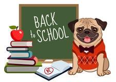 Free Pug Dog Back To School Cartoon Illustration. Cute Friendly Pug P Royalty Free Stock Photography - 124268277