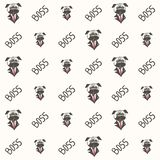Pug dog boss pattern vector illustration stock illustration