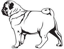 Pug dog breed. Vector illustration, dog show sign symbol set, toy dog Stock Photos